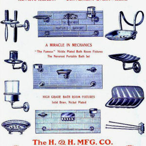 1908 H & H Mfg Co. Advertisement for bath accessories.