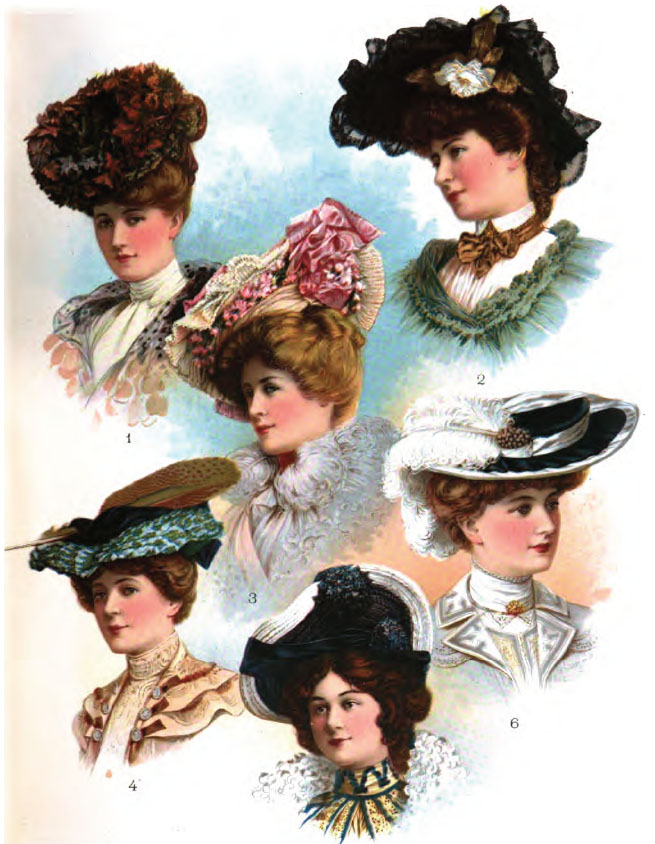 Fashionable Edwardian Hats from October 1902.