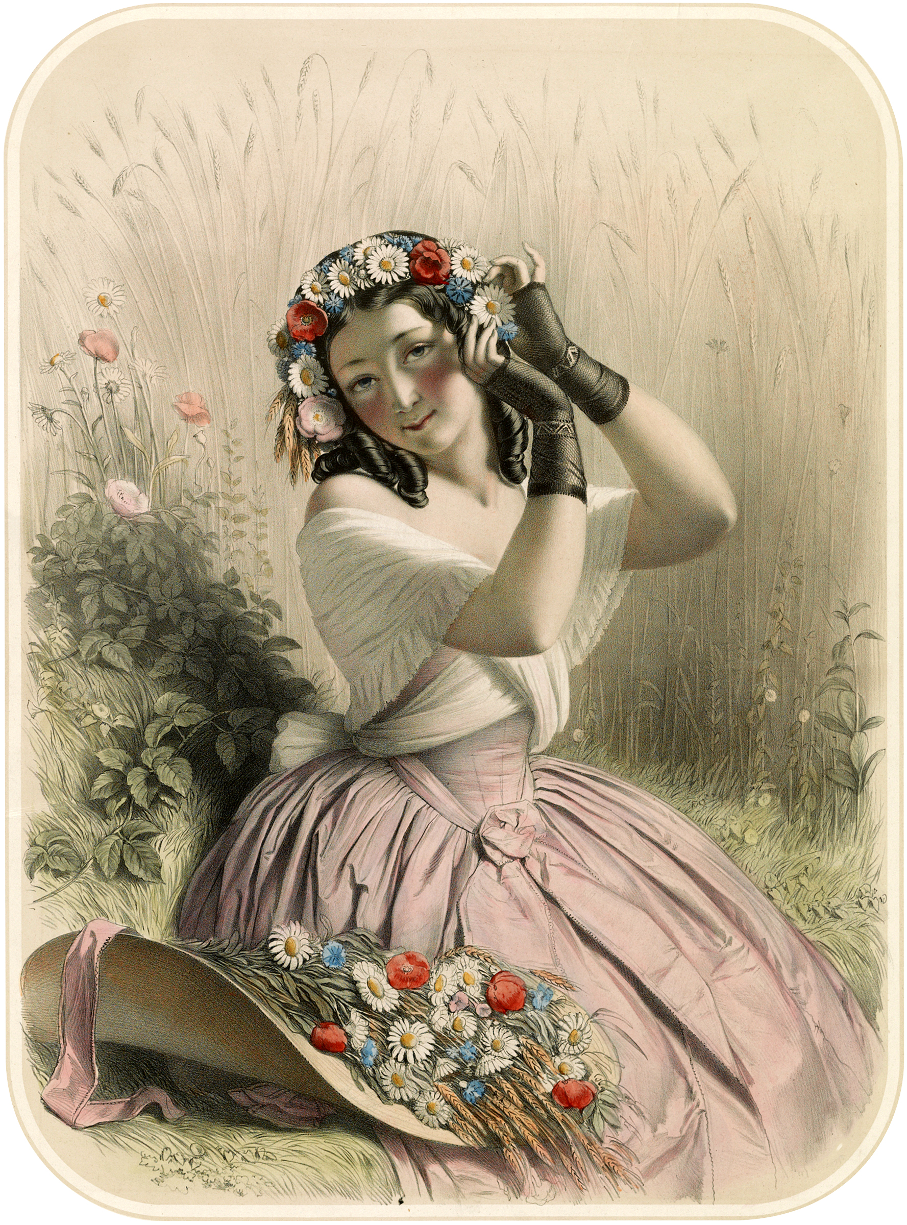 Image: CHARMING VINTAGE GIRL WEARING A FLOWER CROWN courtesy of The Graphics Fairy